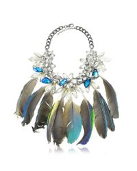 Anabela Chan - Blue Crystals And Feathers Necklace - Lyst