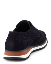 Prada - Blue Suede Wingtip Sneaker for Men - Lyst
