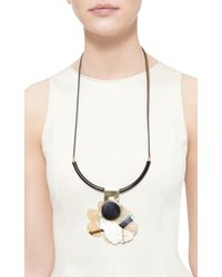 Marni - Brown Leather And Horn Long Necklace - Lyst