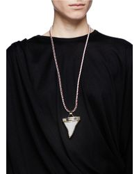 Givenchy | Metallic Leather Shark Tooth Necklace | Lyst