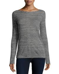 Neiman Marcus | Black Cotton/cashmere Long-sleeve Striped Sweater | Lyst