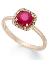 Effy Collection | Pink Rosa By Effy Ruby (1 Ct. T.w.) And Diamond Accent Square Ring In 14k Rose Gold | Lyst