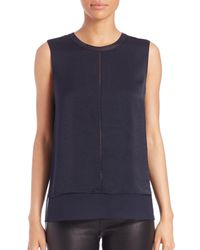 VINCE | Blue Sleeveless Overlay Silk Tank Top | Lyst