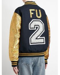 Ashish - Blue Sequinned Jewelled Varsity Jacket - Lyst