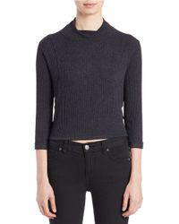 Free People | Black Cropped Mock-neck Sweater | Lyst