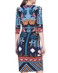 Etro - Blue Geometric Patchwork Surplice Jersey Dress - Lyst
