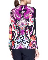 Etro - Purple Moroccan Silk Tie-neck Top - Lyst