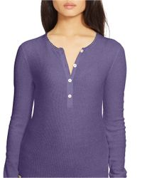 Lauren by Ralph Lauren | Purple Cotton Waffle-knit Henley | Lyst