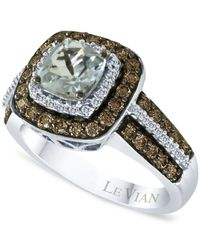 Le Vian | Blue Aquamarine (3/4 Ct. T.w.) And Chocolate Diamonds® (3/4 Ct. T.w.) In 14k White Gold | Lyst
