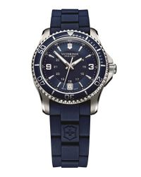 Victorinox - Blue 'maverick Gs' Rubber Strap Watch - Lyst