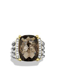 David Yurman | Metallic Wheaton Ring With Smoky Quartz And Diamonds | Lyst