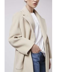 TOPSHOP | Natural Textured Melton Coat By Boutique | Lyst