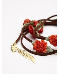Free People | Orange Floral Braid Ins | Lyst