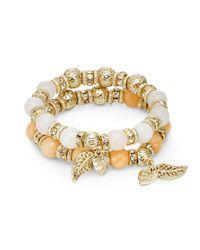 Saks Fifth Avenue - Metallic Dyed Quartz & Beaded Charm Stretch Bracelet Set/orange & White - Lyst