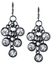 2028 | Black-tone Crystal Cluster Drop Earrings | Lyst