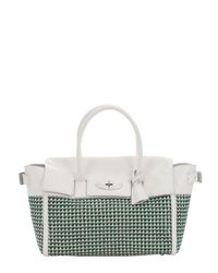Mulberry - Jungle Green And Cream Woven Leather 'bayswater' Large Buckled Tote - Lyst