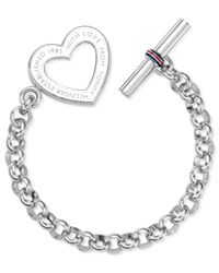 Tommy Hilfiger | Gray Stainless Steel Heart Toggle Bracelet | Lyst