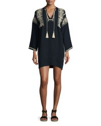 Étoile Isabel Marant - Black Vinny Embroidered Tassel Tunic - Lyst
