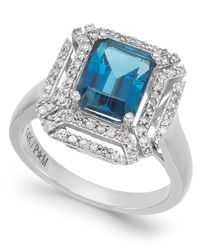 Macy's - London Blue Topaz (2-5/8 Ct. T.w.) And Diamond (1/3 Ct. T.w.) Ring In 14k White Gold - Lyst