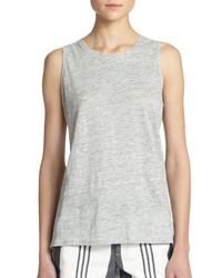VINCE | Gray Linen Muscle Tee | Lyst