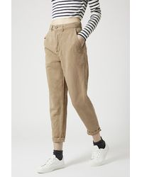 TOPSHOP - Brown Washed Cotton High-Waisted Peg Trousers - Lyst