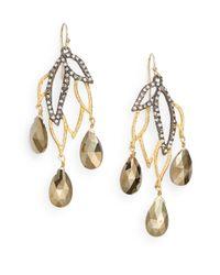 Alexis Bittar - Metallic Elements Lacy Leaf Pyrite & Crystal Chandelier Earrings - Lyst