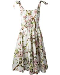 Dolce & Gabbana | Flared Floral Print Dress | Lyst