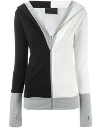 Norma Kamali - Black Colour Block Zipped Hoodie - Lyst