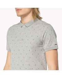 Tommy Hilfiger - Gray Stretch Cotton Printed Polo for Men - Lyst