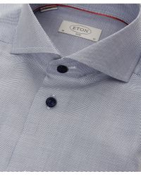 Eton of Sweden - Blue Slim Fit Contrast Button Shirt for Men - Lyst