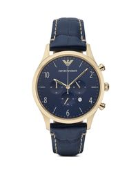 Emporio Armani | Blue 3-hand Croc-embossed Leather Strap Watch, 43mm for Men | Lyst