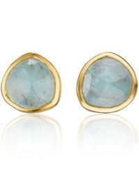 Monica Vinader | Metallic Gold Vermeil Aquamarine Stud Earrings | Lyst