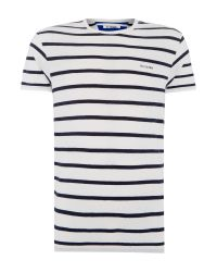Ben Sherman | White Breton Stripe Crew Neck Regular Fit T-shirt for Men | Lyst