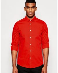 ASOS | Red Smart Shirt In Long Sleeves With Square Collar for Men | Lyst