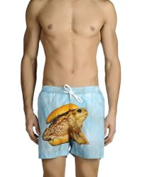 MSGM | Blue Swimming Trunks for Men | Lyst