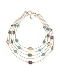 Carolee - Metallic 12k Worn Goldplated Fiverow Illusion Necklace - Lyst