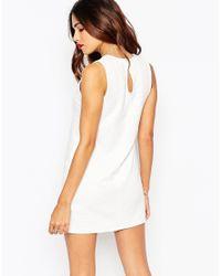 ASOS - White Petite Shift Dress In Jumbo Rib With V-neck - Lyst