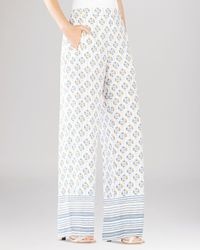 BCBGMAXAZRIA - Blue Joan Printed Wide Leg Pants - Lyst