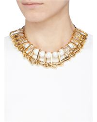 Venna | Metallic Marble Bead Crystal Chain Link Spacer Necklace | Lyst