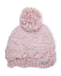 Betsey Johnson | Pink Pearly Girl Pom-Pom Beanie | Lyst