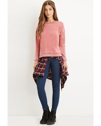 Forever 21 | Red Faded Fleece Sweatshirt | Lyst