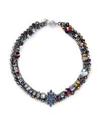 Assad Mounser - Blue Floral Crystal Motif Chain Choker - Lyst