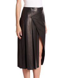 Prabal Gurung - Black Leather & Suede Slit Skirt - Lyst
