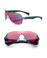 Ray-Ban | Pink Mirrored 65mm Shield Sunglasses | Lyst