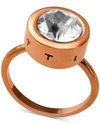 T Tahari - Metallic Rose Gold-tone Round Crystal Ring - Lyst