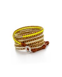 Chan Luu | Neon Beaded Wrap Bracelet - Neon Yellow Mix/natural Brown | Lyst