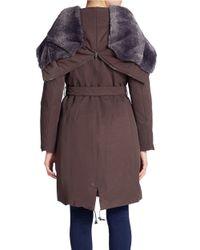 Max Mara | Brown Faux Fur-trimmed Parka | Lyst