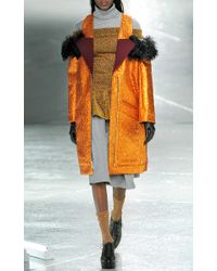 Rodarte - Orange Glitter Coat with Shearling Trim - Lyst