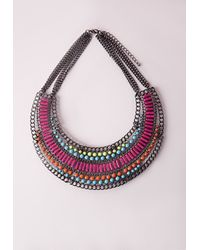 Missguided - Multicolor Statement Beaded Collar Necklace Neon - Lyst