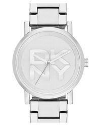 DKNY - Metallic 'soho' Logo Dial Bracelet Watch - Lyst